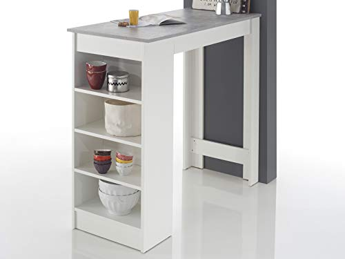 möbelando Bartisch Esstisch Tresentisch Küchentisch Bistrotisch Tisch Rosalyn I Beton/Weiß -