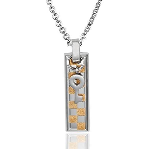 AieniD Acero Inoxidable Collares Colgantes de Mujer Hombre Revise Etiqueta Dominante Bar Corazón Bloqueo Cadena Oro