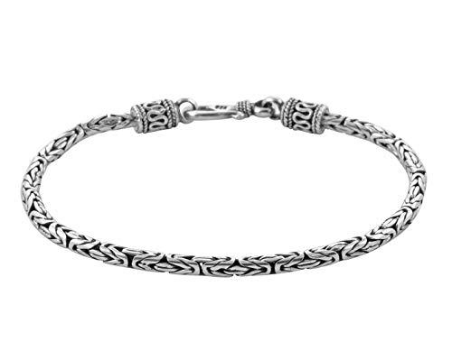 Pulsera de cadena de plata de ley 925 para hombre con diseño de Bali, de Bizantina Oxidada, 2,5 mm de grosor, 17,8 cm de largo
