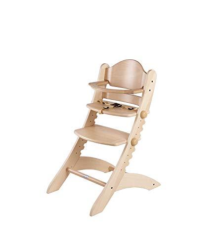 Geuther - mitwachsender Hochstuhl Swing 2355, mit Bauchbügel, Essbrett separat erhältlich 0055SB, natur - Herz-zurück-stuhl