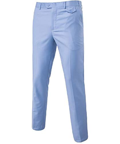 CuteRose Men Trim-Fit Wrinkle-Free Classic-Fit Stretchy Casual Chino Pants Light Blue 5XL Classic Pleated Chino-khaki