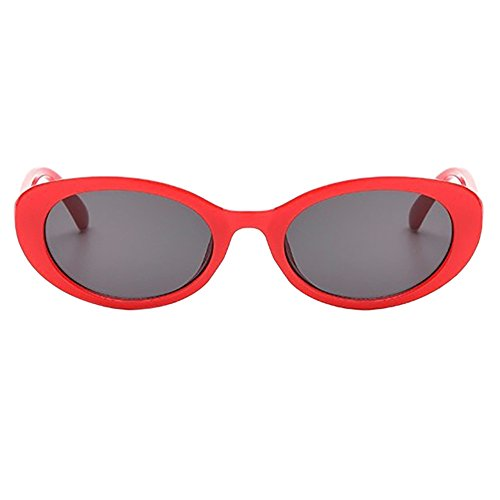 Honestyi Retro Vintage Unisex Sonnenbrille Rapper Oval Shades Grunge Brille Ovale Brillenbrille mit Cat Eye Sonnenbrille