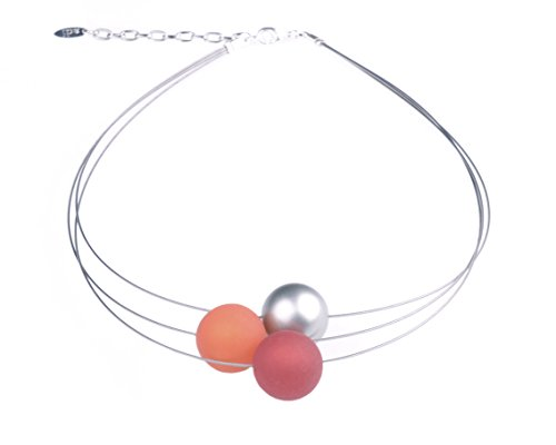 """Adi Modeschmuck Damenkette """"Mara"""", 3-strängiger Halsreif aus 20mm Polarisperlen in orange und rot sowie Einer Akzentperle aus metallic lakiertem Acryl, handgefertigt ()"""
