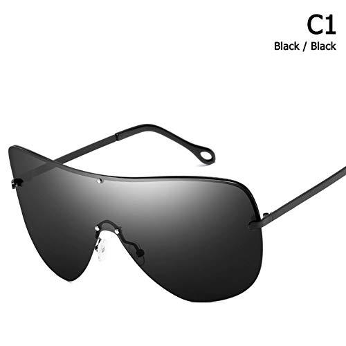 Taiyangcheng Frauen übergroße randlose Schild Stil Sonnenbrille Sonnenbrille,C1