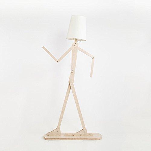 Kreative Holz Stehlampe mit Schatten für Wohnzimmer Home dekorative hohe Stehlicht einstellbare Swing Arm Lampen 0706P -