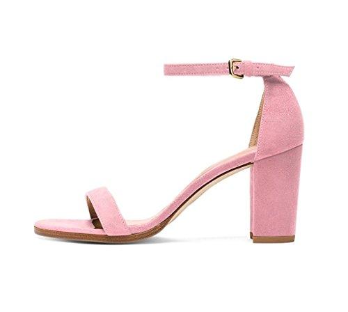 EDEFS Femmes Sandales Bout Ouvert Lanière Talon Bloc Haut Dame Sexy Eté Chaussure pink