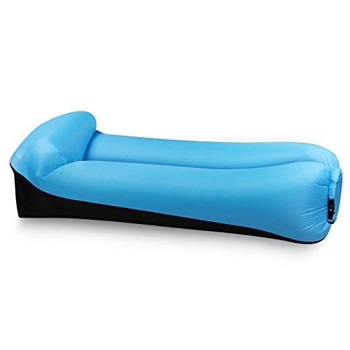 EooCoo Portable aufblasbare Sofa, Outdoor Air Sofa für Camping, Park, Strand, Hinterhof, Angeln, Schwimmen - Schwarz + Blau