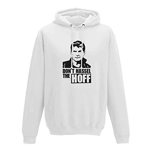 David Hasselhoff Knight Kostüm Rider - Jimmys Textilfactory Hoodie Don't Hassel The Hoff David Baywatch Freedom 10 Farben Herren XS - 5XL 80er Eighties Kult K.i.t.t. Knight Rider Fun Spaß Party, Größe: L, Farbe: Weiss/Arctic White