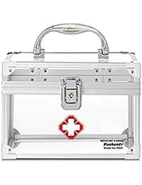 Speedmar - Caja organizadora portátil para medicamentos, Varias Capas, Transparente, con Cerradura y