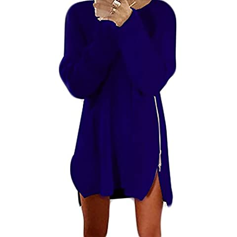 Femmes Robe de Automne Manches Longues Cou Ronde Casual Lâche Zip Longue Pullover Pulls (XL, Bleu clair)