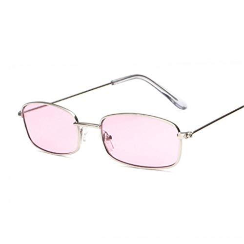 GJYANJING Sonnenbrille Kleine Sonnenbrille Weibliche Rot Rosa Objektiv Brille Kleine Rahmen Shades Brillen Frauen Metall Sonnenbrille Männer Retro