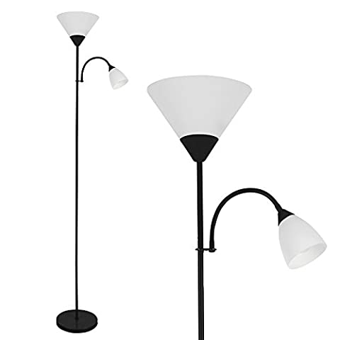 Modern Gloss Black 2 Way Mother / Father Parent & Child Uplighter and Spotlight Design Floor Lamp