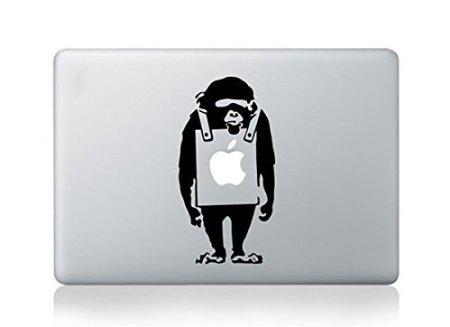 Vati Blätter Removable Sad Affe Vinyl Aufkleber Aufkleber Skin Art Schwarz für Apple Macbook Pro Air Mac 13