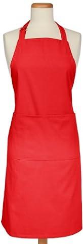 Mukitchen réglable Coton Tissé à chevrons Tablier avec grandes poches, Coton, Crimson, Other-size