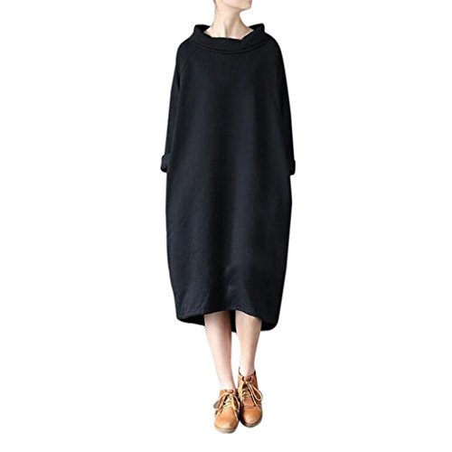 Damen Bekleidung Kleid SOMESUN Frau Winter Beiläufig Lose Rollkragen Lange Ärmel Sweatshirt Kleid Kaftan Winter Casual Loose Turtleneck Long Sleeve (Schwarz, S) (Rollkragen Baumwolle Lauren Ralph)