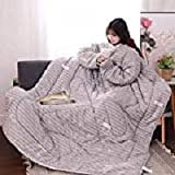 Hot sale! MAyouth Premium Cotton Blanket with Sleeves for Adult, Women, Men | Warm, Cozy, Extra Soft, Microplush, Functional, Lightweight Wearable Throw (Grauer Kleiner Wal, 150x200cm)