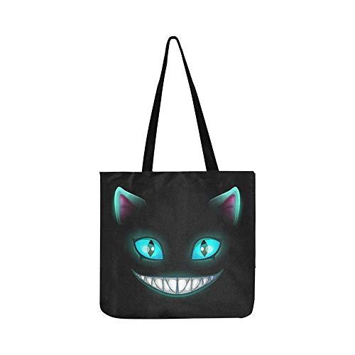 Furchtsames lächelndes Katzengesicht der Fantasie auf Segeltuch-Tote-Handtaschen-Schultertasche Crossbody-Taschen-Geldbörsen für Männer und Frauen Einkaufstasche