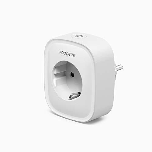 Koogeek Wi-Fi Enchufe Inteligente Compatible con Amazon Alexa y Google Assistant Control remoto la aplicación Koogeek Life, soporte para control de voz, escena, sincronización, estadísticas de energía, la red de 2.4GHz No requiere puente AC 220 V