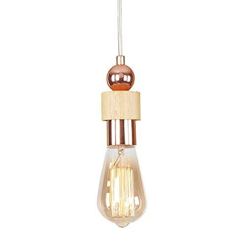 Lampada a sospensione singola, bancone da bar lampada a sospensione a sospensione ristorante bar lampada da soffitto studio soggiorno lampada a sospensione legna,rosegold