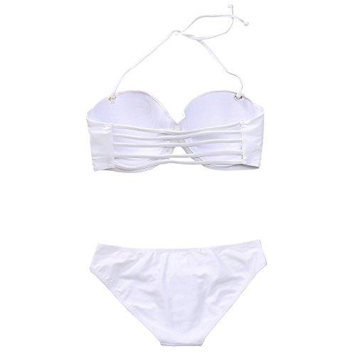 MissTalk Damen Neckholder geraffter Vorderseite gebänderten Design Klassische bikiniset Top und Hose Swimwear Weiß