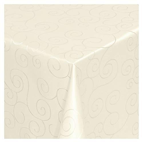MODERNO Tischdecke Stoff Damast Ornamente Jacquard Ranken Design mit Saum oval 140x190 cm Creme-Champagner - Sonderposten