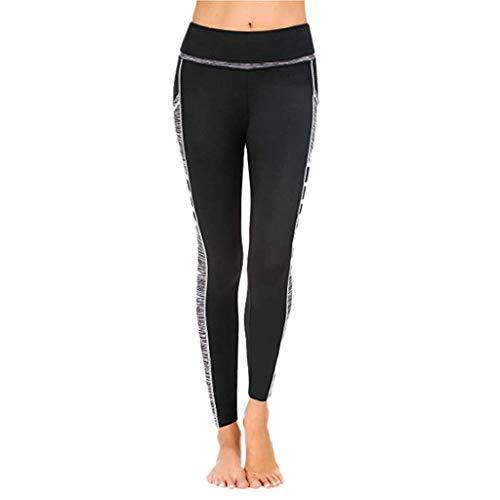MOTOCO Sports Leggings Mit Pocket Sporthose für Damen Yogahosen Fitnesshosen Womens Yoga Strumpfhosen Größe 32-38(XL(38),Grau -