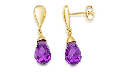 Miore Damen-Ohrringe 9 Karat (375) Gelbgold Amethyst farbe MA9087E