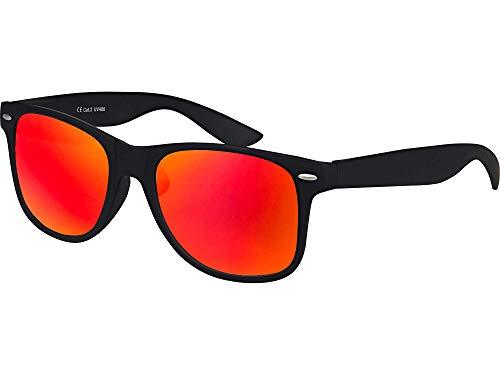 Balinco Hochwertige Nerd Sonnenbrille Rubber im Wayfarer Stil Retro Vintage Unisex Brille mit Federscharnier - 96 verschiedene Farben/Modelle wählbar (Schwarz - Rot/Orange verspiegelt)