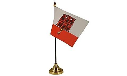 6Stück Gibraltar City mit Zentrum von Tisch Flagge Flaggen Desktop-mit Basis Gold Partei ideal für Konferenzen (Gibraltar Basis)