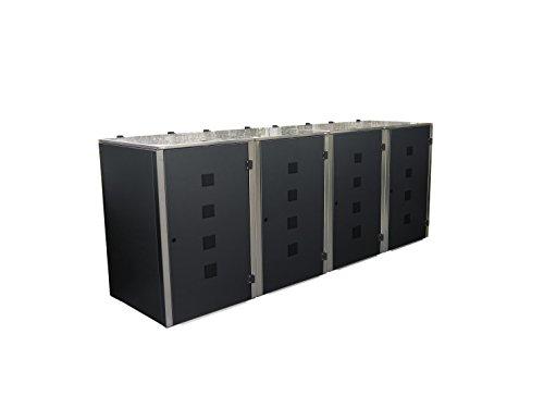 Mülltonnenbox Edelstahl, Modell Eleganza Quad, 120 Liter, Viererbox in Anthrazitgrau RAL 7016 - 2