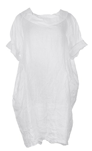 Ladies Womens Italian Lagenlook Quirky Short Sleeve Round Collar 2 Pocket Button Back Plain Linen Dress One Size Plus (One Size Plus, White)