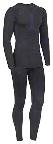 icefeld®: Sport-/ Ski-Thermo-Unterwäsche-Set für Herren Seamless (nahtfrei) in schwarz/blau M