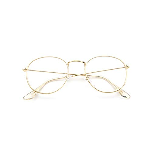 EUCoo Brillengestell Mode Retro Metall Runden Rahmen Spiegel Flache Brille Student GläSer(Gold)