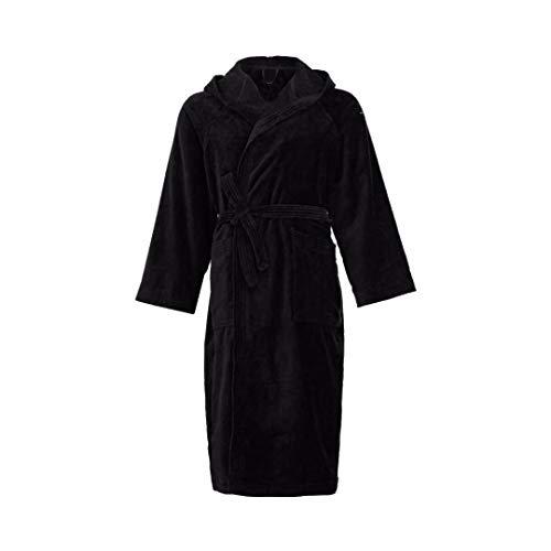 Marigela accappatoio di spugna uomo donna con cappuccio taglia s/m - l - xl - xxl spugna 100% puro cotone (xl(54), nero)