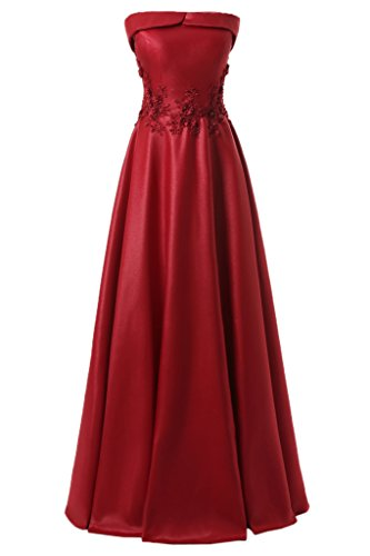 ivyd ressing Donna Semplice U con scollo a punta applicazione Satin Abito del partito Prom abito Fest vestito abito da sera rosso vivo