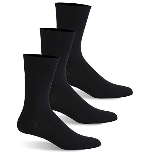 Facool Diabetiker-Socken für Herren und Damen, Baumwolle, Nicht bindend, nahtlos, 1/3/6 Paar, Herren, 3 Pairs Black, Large (Diabetische Socken Crew Schwarz)