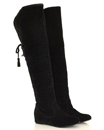 Minetom Mujer Invierno Moda Calentar Botas De Nieve Slouchy Botas De Piel Cargadores De La Rodilla Negro EU 37