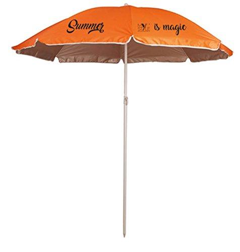 My custom style® ombrellone da spiaggia portatile color arancio, in poliestere con protezione uv, con asta e struttura in metallo, per piscina, mare o giardino, o semplicemente per avere un tuo style anche andando alla ricerca della caletta più bella senza rinunciare a un pò d'ombra nelle ore più calde.