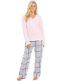 Slumber Hut® Ladies Microfleece Pyjamas Grandad Button Collar Womens Loungewear PJs Pajamas - Navy Blue Pink - Size UK 8 up to 22