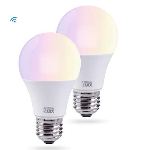 Smart LED, WLAN Birne(9W, E27) dimmbare Smart Home Lampe 800LM, Wifi Glühbirne, Fernbedienung mit APP von Handy oder Tablett, Sprachsteuerung über Amazon Alexa(Echo, Echo Dot) und Google Home, kein HUB erforderlich ( 2 Pack)[Energieklasse A+]