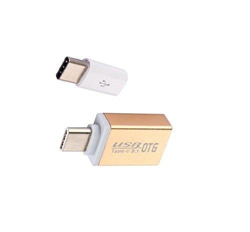 OTG Adapter USB Typ-C auf USB 3.0 A aus Aluminium + USB Typ-C auf Micro USB für alleType C Geräte inklusive Nintendo Switch, neuen MacBook, Google Chromebook Pixel Nokia N1 Tablet (GOLD) (Wie Sie Typ)