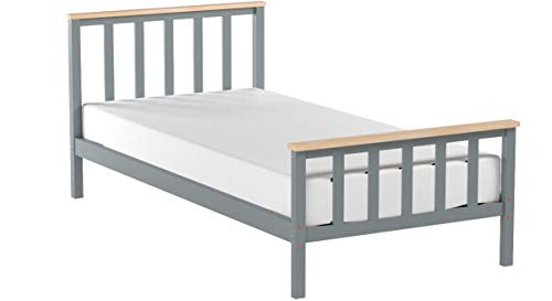Home Detail Wooden Bed Frame Grey & Pine or White & Oak Contrast Finish (Single 3FT, Grey/Pine)