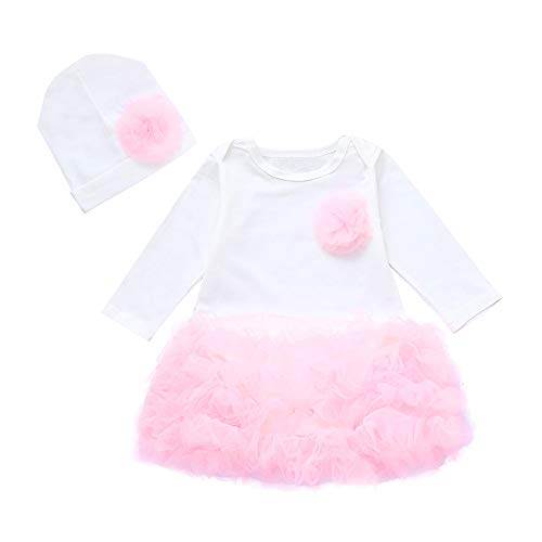 Culater toddler kids neonate ❤️❤️ felpa flower flower pagliaccetto top tutu skirt + hat outfit clothes set (0-6 mesi, bianco)