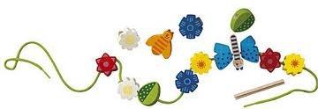 Haba 1971 - Bambini Perlen Blumen  Hübsches Fädelspiel ab 3 Jahren   Mit großen Holzperlen in schönen Farben und Formen