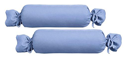 Biberna 0077144Jersey de para cojín cilíndrico de algodón 100%, 2unidades), 15x 40cm Azul, 27x 18x 2cm