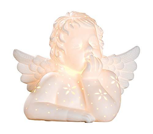 GILDE Lampe Engel - aus Porzellan mit Lochmuster im Prickellook B 25 cm