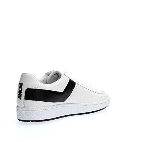 Pony Sneaker Pelle Bianca e Nera Bianco