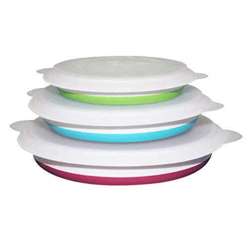 Earlyad Silikon Collapsible Bowl Set Portable Food Storage Container Klapp Geschirr Picknick Aufbewahrungsschüssel mit Deckel für Outdoor-Camping und Wandern unzerbrechlich und platzsparend -