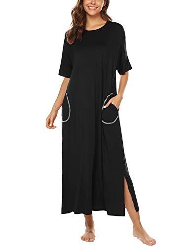 Weiche Damen-nachthemd (BESDEL Nachthemd für Damen Rundhalsausschnitt Loungewear Oversized Pyjama Black M)