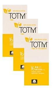 THREE PACKS OF 16 Organic cotton Applicator Tampons (Medium) 100% Biodegradable, 100% Organic Cotton, pH Neutral